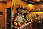 Kitchen with vegetables at the Abaco Museum, Puerto de la Cruz, Tenerife, Canary Islands, Spain