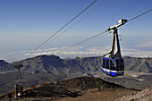 Cable railway high above Canadas de Teide mowing to mountain station, Teide Nationalpark, Tenerife, Spain