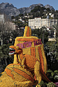 Recreation Of The Decor From The Film Jurassic Park, Exhibition Of Giant Motifs Made Of Citrus Fruits Based On A Cinema Theme, Lemon Festival, Bioves Garden, Menton, Alpes-Maritimes (06), France
