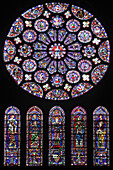South Facade Of The Transept, Lancet Windows: The Virgin With Child And The Evangelists On The Shoulders Of The Prophets. Rose Window: Vision Of The Apocalypse With The 24 Elders, Angels And Tetramorph, Stained Glass In The Chartres Cathedral, Eure-Et-Loi