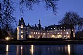 Exterior Nighttime Shot Of The Chateau d'Esclimont, Former Residence Of The La Rochefoucauld Family, Eure-Et-Loir (28), France