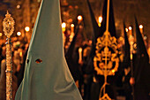 Penitents In Cowl And Hood, Procession Of The Christ Of Faith And Pardon, Holy Week For The Easter Holidays, (The Passion Of Christ), Madrid, Spain