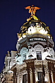 The Metropolis Building Surmounted By A Bronze Statue Of The Phoenix, Calla Alcala, Madrid, Spain