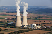 Aerial photo of the nuclear power plant Grohnde and the Weser River, Lower Saxony, Germany