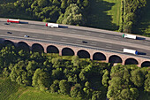 Aerial photo of a German motorway bridge, Autobahn bridge, A2, near Bückeburg, Lower Saxony, Germany
