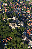 Aerial photo of Bentheim castle in Bad Bentheim, Lower Saxony, Germany