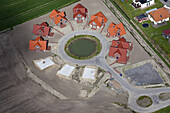 Aerial view of a residential building site, new circular housing settlement near Bremerhaven, Bremen, Germany