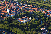 Aerial view of Celle castle and gardens, red roofs of the old town, church and Celle avenue of trees in the French garden, Celle, Lower Saxony, Germany