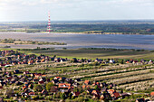 Aerial shot of orchard near Elbe River, Altes Land, Lower Saxony, Germany