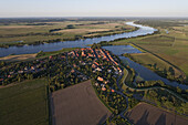 Aerial view of the town of Schnackenburg at the junction of the Aaland River on the upper Elbe River, Schnackenburg, Lower Saxony, Germany