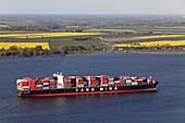Luftbild, Containerschiff auf der Unterelbe, Rapsfelder, Horizont, Niedersachsen, Deutschland