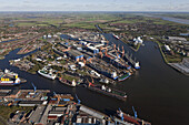 Aerial view of Emden harbour with docks and wharfs, Emden, Lower Saxony, Germany