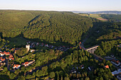 Aerial view of the town of Greene, viaduct and railway bridge leading to the Weser Hills, Greene, Lower Saxony, Germany