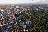 Aerial view of Hannover, avenue of trees connecting Herrenhausen Gardens to the inner city, Hannover, Lower Saxony, Germany