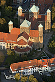 Aerial of old town of Hildesheim with church of St. Michael, ottonian renaissance, Hildesheim, Lower Saxony, Germany