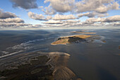 Aerial view above sandbanks of Nordeney towardss Baltrum, Lower Saxony, Germany
