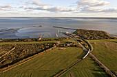 Aerial view of the East Frisian island Langeoog ferry and island railway, Langeoog Lower Saxony, northern Germany
