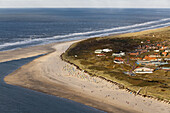 Aerial above the sandy beach, coast of East Frisian island Spiekeroog, Lower Saxony, Germany
