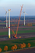 Construction of a wind turbine with a crane, near Luneburg, Lower Saxony, Germany