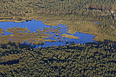 Aerial photo of a moor landscape in the Lüneburg heath, nature reserve, Lower Saxony, Germany