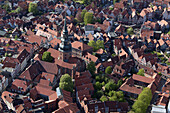 Aerial view of the historic old town in Stade and the Cosmae church, half-timbered houses and narrow streets, Lower Saxony, Germany