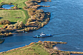Aerial photo of a car ferry near Bleckede on the River Elbe, Lower Saxony, Germany