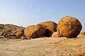 Balancing granite rock laying on slab, Bull´s Party, Ameib, Erongo mountains, Namibia