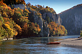 Excursion boat at the canyon of the Danube river, near Weltenburg monastery, Danube river, Bavaria, Germany