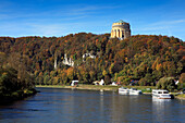 View over Danube river to Hall of Liberation, Kelheim, Bavaria, Germany