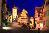 Plönlein with Siebersturm and Kobolzeller Tor, Rothenburg ob der Tauber, Tauber valley, Romantic Road, Franconia, Bavaria, Germany
