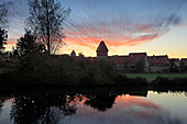 View from the pond to the Bäuerlinsturm, Dinelsbühl, Romantic Road, Franconia, Bavaria, Germany