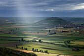 View from the hilltop Alto de Mostelares, Castrojeriz, province of Burgos, Old Castile, Castile-Leon, Castilla y Leon, Northern Spain, Spain, Europe
