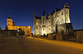 Cathedral and Episcopal Palace at night, Astorga, Castile and Leon, Spain