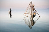 An Intha fisherman with traditional fish trap uses an unusual leg-rowing technique to propel his flat-bottomed boat across the lake while standing.