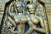 Phnom Penh (Cambodia): Buddhist bas-relief by the Wat Phnom