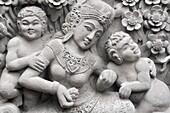 Ubud (Bali, Indonesia): Hindu bas-relief on a dancehall wall along Monkey Forest road
