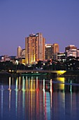 Early evening over the River Torrens and city of Adelaide in Australia