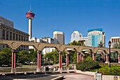 Alberta, architecture, blue sky, building, Calgary, Calgary Tower, Canada, city, day, holiday, horizontal, olympic plaza, outdoor, skyscraper, tourism, Tourist destination, travel, vacation, V04-1166584, AGEFOTOSTOCK