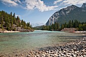 Bow river and mountain scenery in the Banff National Park, Alberta, Canada