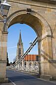 Marlow Suspension Bridge and All Saints Church. Thames river. Marlow. Buckinghamshire. England. UK.