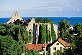 Sweden, Gotland island, World Heritage Site, Visby, Ruins of Saint Nicolaus mediaeval church and Baltic sea