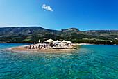 Bathing beach, Zlatni Rat, Golden Cape, Bol, Brac, Split-Dalmatia, Croatia