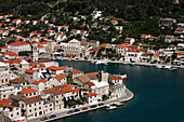 High angle view of Pucisca with harbor, Pucisca, Brac, Split-Dalmatia, Croatia