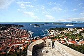 Cityscape, Spanjola Fortress, Hvar Town, Hvar, Split-Dalmatia, Croatia