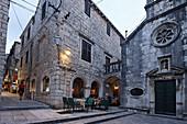 Restaurants in old town, Korcula town, Korcula, Dubrovnik-Neretva County, Dalmatia, Croatia