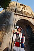 Guard, Pile Gate, Old Town, Dubrovnik, Dubrovnik-Neretva county, Dalmatia, Croatia
