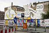 NOTE: the work of art has meanwhile been over-painted. Streetart animations from the artist Blu in Cuvry Strasse, Berlin-Kreuzberg, Berlin, Germany, Europe