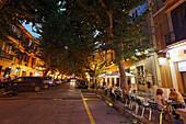 Calle Marques de Campo in the evening, Denia, Province Alicante, Spain