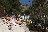 Sunbathing, Fuentes del Algar, Callosa d'En Sarria, Province Alicante, Spain