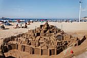 Sandcastle at beach, Costa Blanca, Benidorm, Province Alicante, Spain
